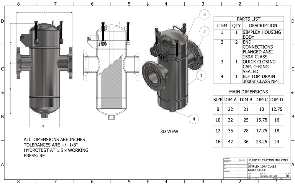 3.0 Connection Size Sani-Matic Tee-Line Strainer with Alignment Pin 1//4 Perforated